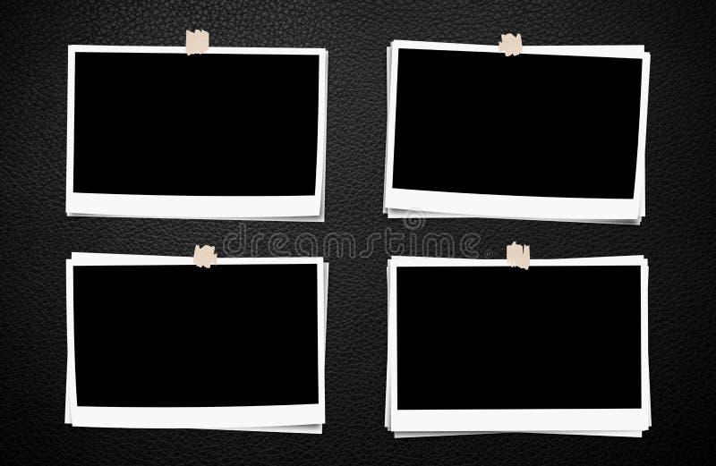 Set fotografii rama z taśmą, na czarnym rzemiennym tekstury tle ilustracji