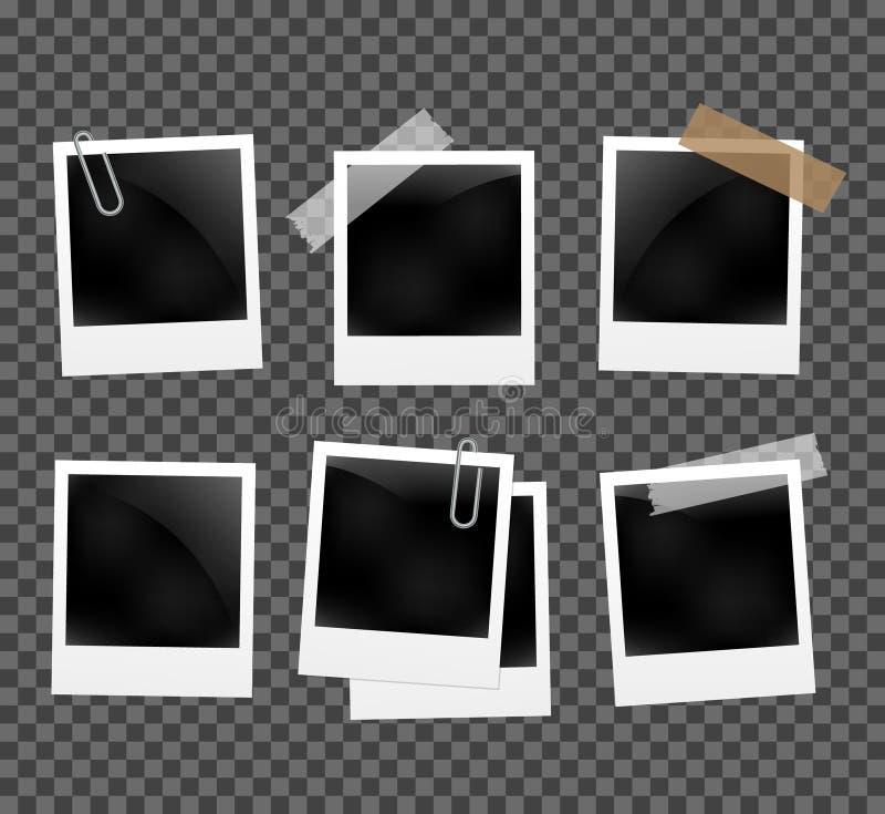 Set fotografii ramy na arkanie z clothespin Polaroid fotografii ramy ustawiać na przejrzystym royalty ilustracja