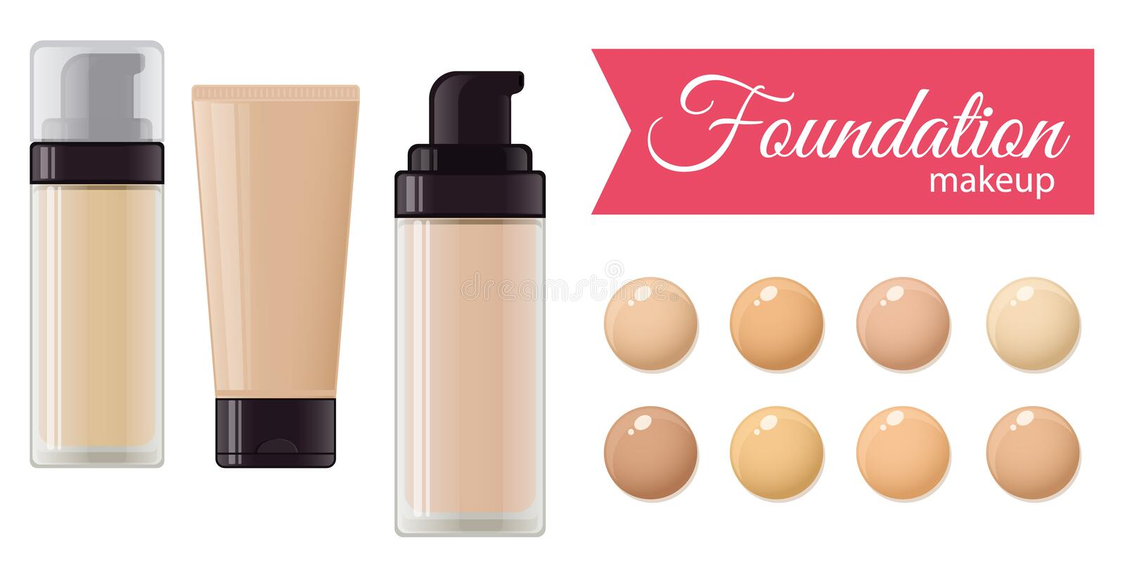 Set of foundation cream. For mackeup and color palette. Vector stock illustration vector illustration