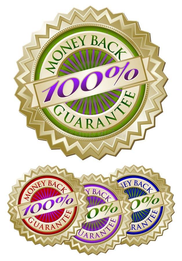 Set of Four 100% Money Back Guarantee Emblem Seals vector illustration