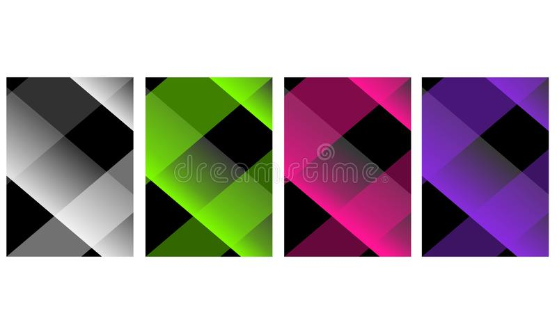 Set of four abstract background with dark gradient color. vector illustration