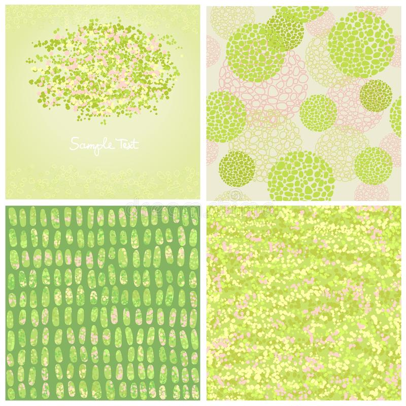 Set four abstract backgrounds of green color stock illustration