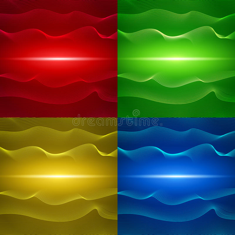 Set of four abstract backgrounds with wavy lines stock illustration