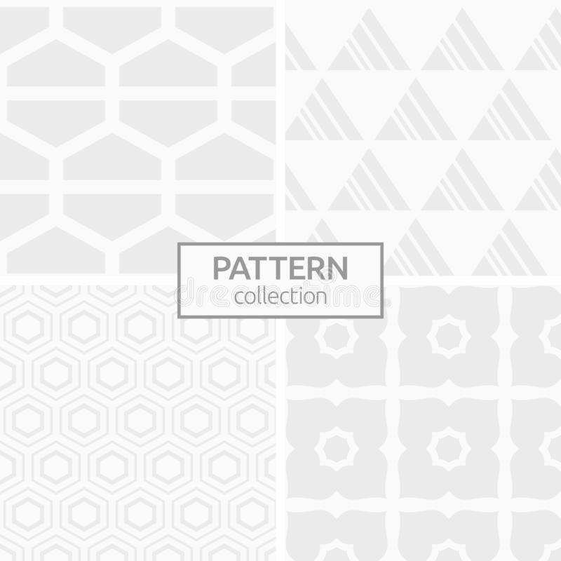 Set of four abstract geometric seamless patterns vector illustration