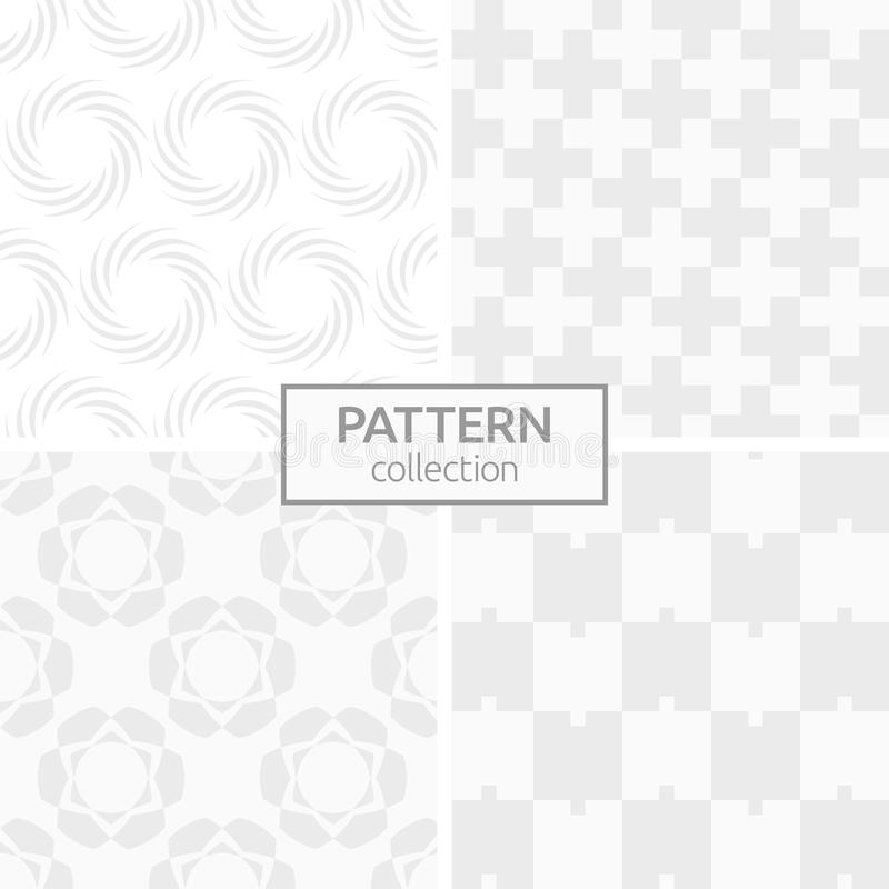Set of four abstract geometric seamless patterns. stock illustration
