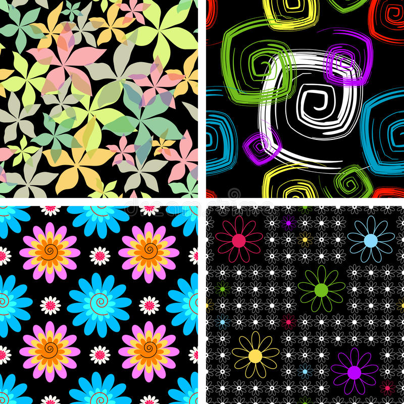 Download Set  Four Abstract Seamless  Black Pattern Stock Vector - Image: 10582771