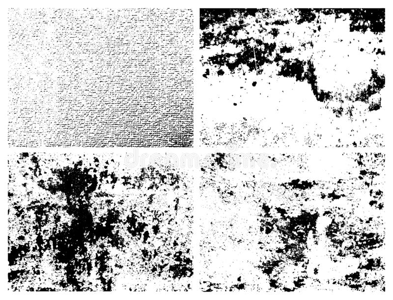 Set of four abstract urban distress overlay backgrounds. Grunge grainy dirty texture. Set of four abstract urban distress overlay backgrounds. Vector vector illustration