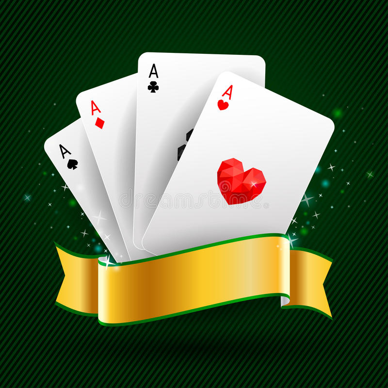Set of four ace cards. Playing card suits. Set of four ace playing cards suits on green background with gold ribbon. Winning poker hand royalty free illustration