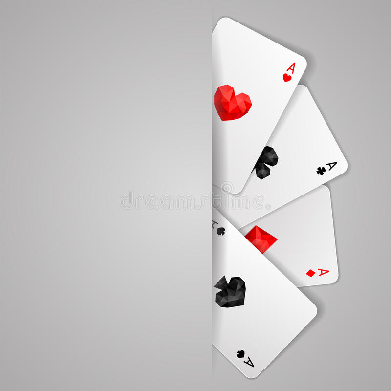 Set of four ace playing cards suits. Poker game. Background with four aces playing cards suits and copy space. Winning poker hand. JPG include isolated path stock illustration
