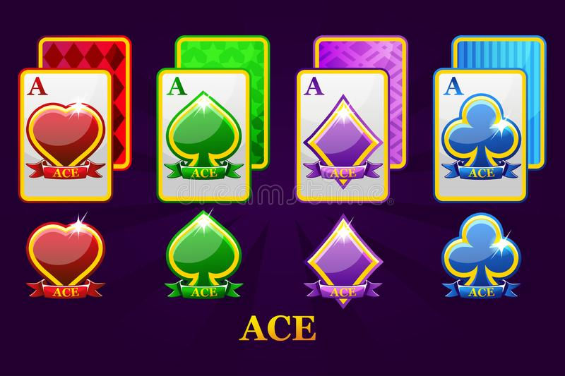 Set of four Aces playing cards suits for poker and casino. Set of hearts, spades, clubs and diamonds Ace. vector illustration