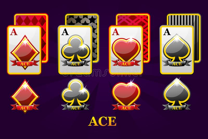 Set of four Aces playing cards suits for poker and casino. Set of hearts, spades, clubs and diamonds Ace. stock illustration