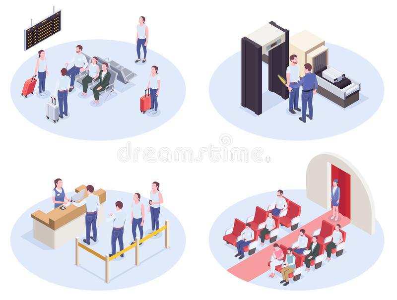 Airport Isometric Compositions Set royalty free illustration