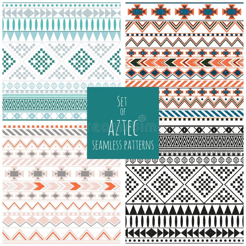 Set of four aztec seamless patterns stock illustration