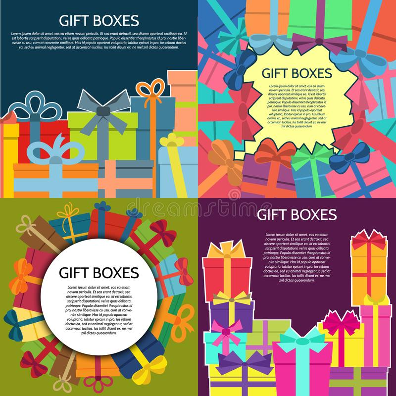 Set of four backgrounds with a colorful gift boxes stock illustration