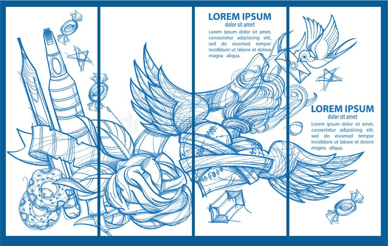A set of four banner templates. Envelope, pencil, donuts, marker, heart with wings and flowers. Drawing for coloring.  stock illustration