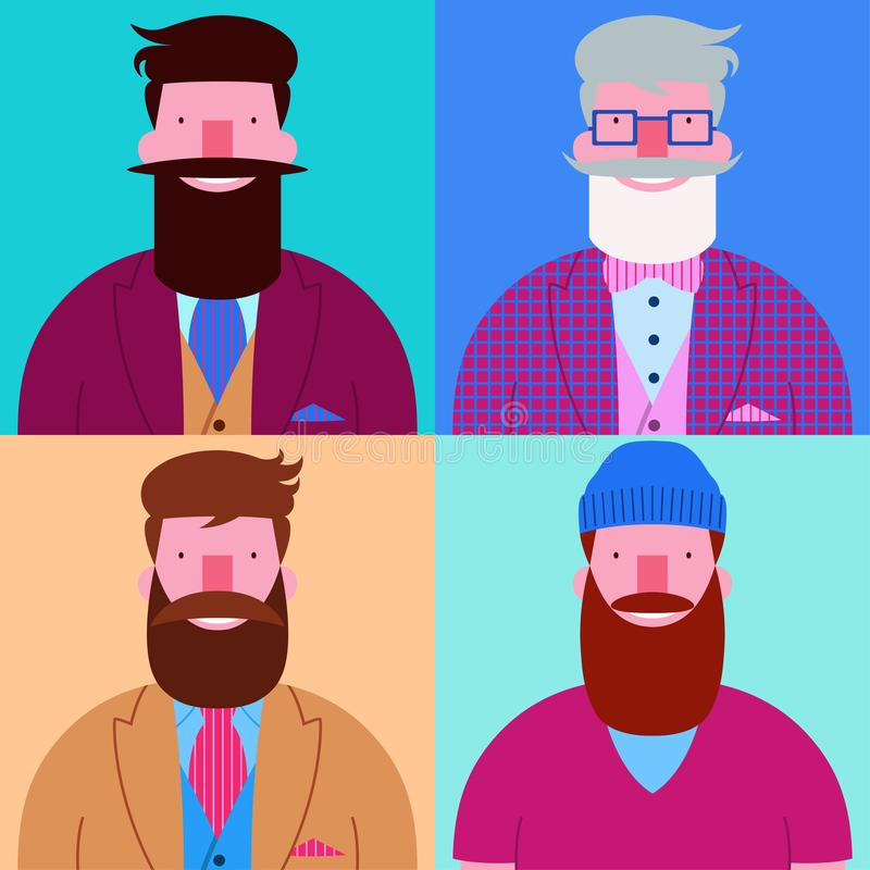 Set of four bearded happy hipsters isolated on pastel colors square backgrounds. Set of four bearded happy hipsters men character design isolated on pastel vector illustration
