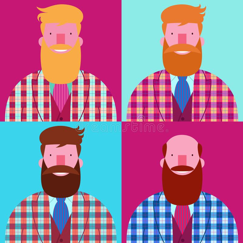 Set of four bearded smiling men with checked jacket. Set of four bearded smiling men hipsters with checked jacket Scottish cage isolated on blue and purple vector illustration