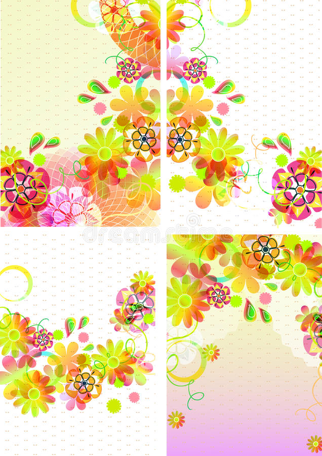Download Set Of Four Beautiful Backgrounds With Flowers Stock Photo - Image: 23462880