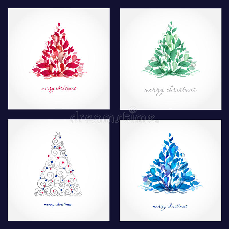 Set Of Four Beautiful Christmas Cards Royalty Free Stock Photography