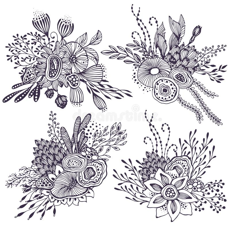 Set of four beautiful fantasy bouquets with hand drawn flowers, plants, branches. vector illustration