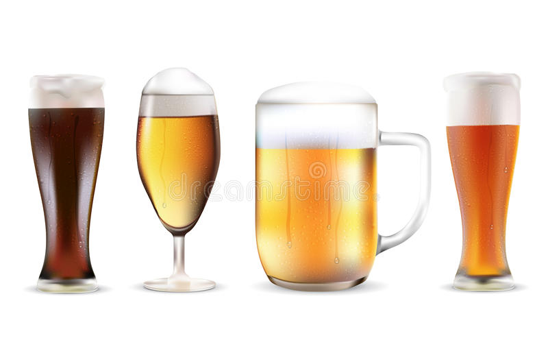 Set of four beers in dewy glasses. On white background. Realistic vector illustration stock illustration