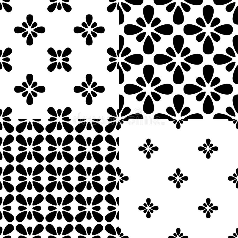 Set of four black and white floral patterns royalty free illustration