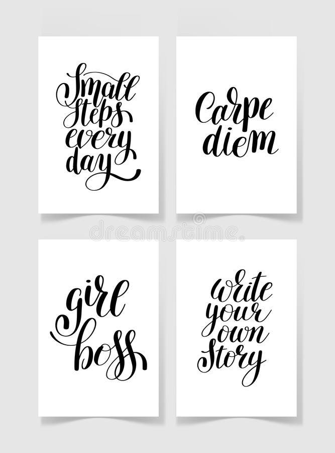 Set of four black and white handwritten lettering positive quote vector illustration