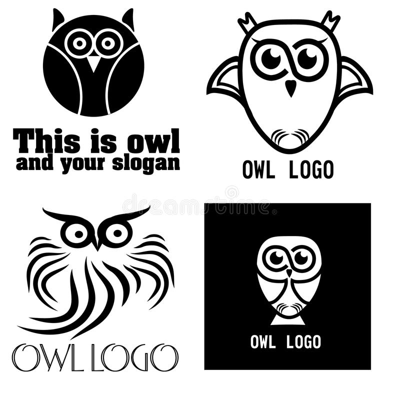 A set of four black and white logo owl. Drawing image set of logos for companies or business four black and white funny owl vector illustration