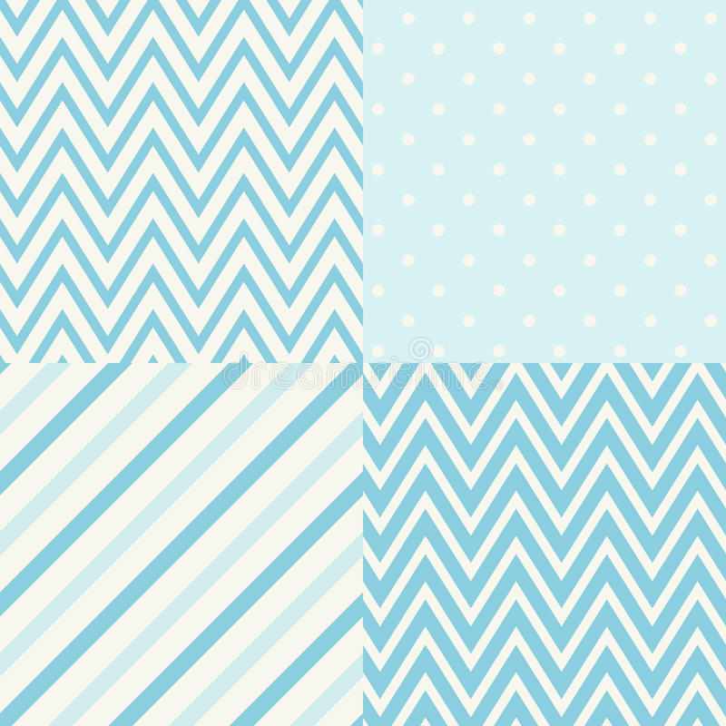 Set of four blue and white seamless geometric patterns. Vector illustration. vector illustration