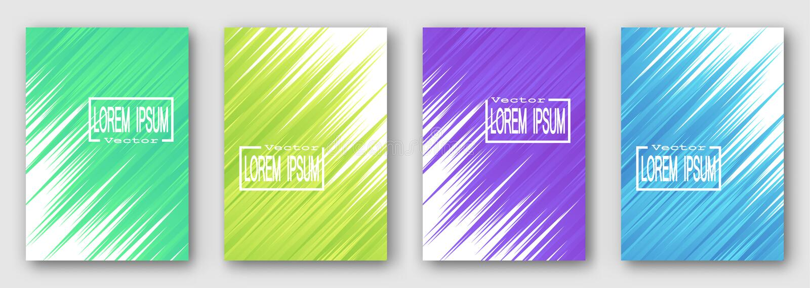 Set of four brochures, posters, flyers. Green yellow purple blue stripes diagonally. For your design. 10 eps vector illustration