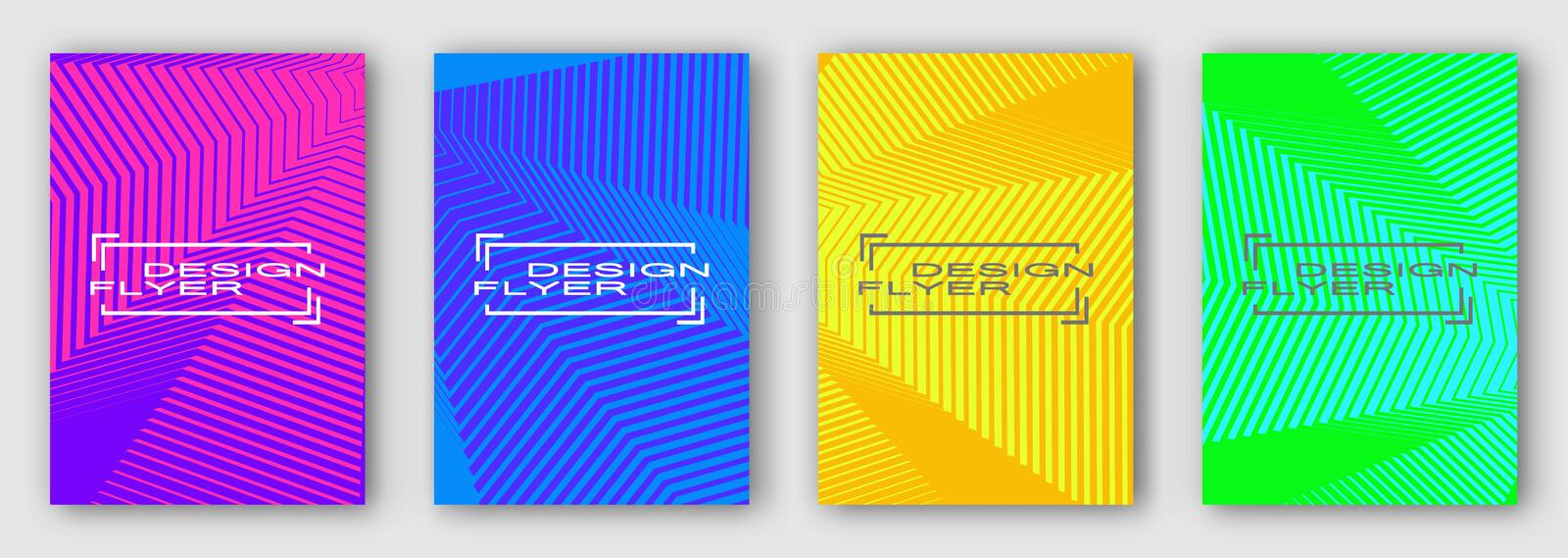 Set of four brochures, posters, flyers. Multi colored geometric lines with curves. Purple blue orange green. royalty free illustration