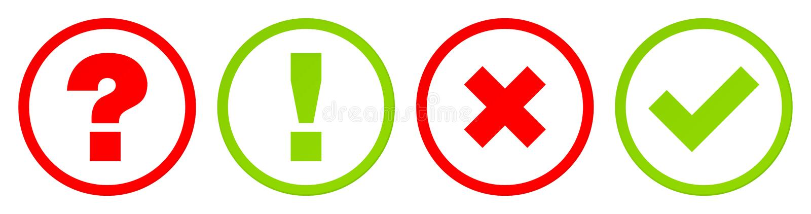 Buttons Question Answer And Checkmarks Set Contour Red Green vector illustration
