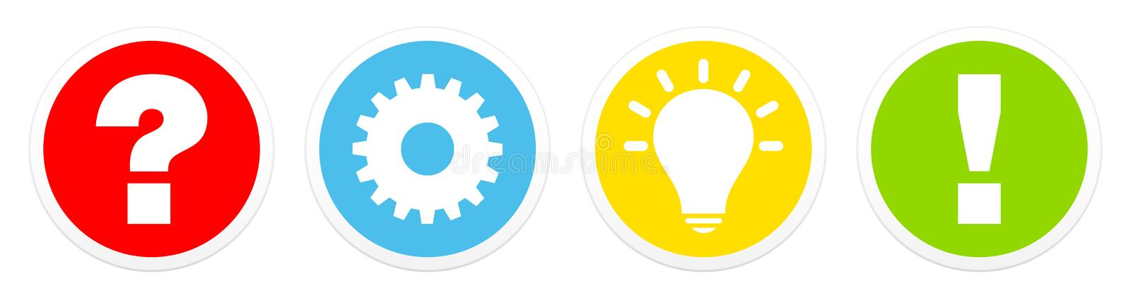 Set Of Four Buttons Question Work Idea And Answer Color royalty free illustration