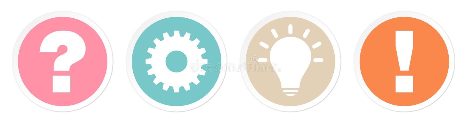 Set Of Four Buttons Question Work Idea And Answer Retro Colors vector illustration