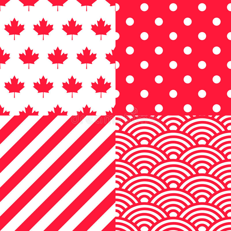 Set of four Canadian themed Patterns. Collection of 4 Canadian patriotic seamless patterns in red and white vector illustration