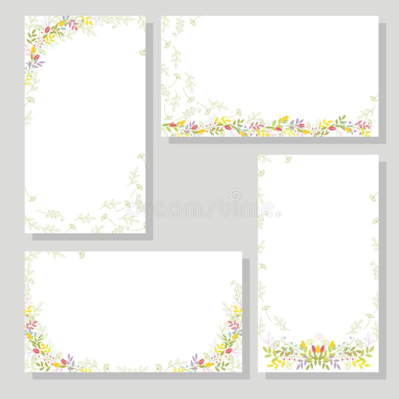 Set of four cards with flowers and branches, with leaves for festive de sign and decoration. Isolated color vector. stock illustration