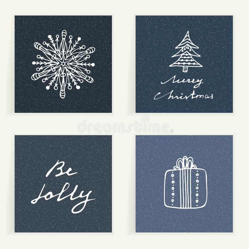 Set of four cards. Hand drawn golden gifts on dark blue backgrouns. Winter holidays. Christmas presents. Best wishes. Set of four cards. Hand drawn gift stock illustration