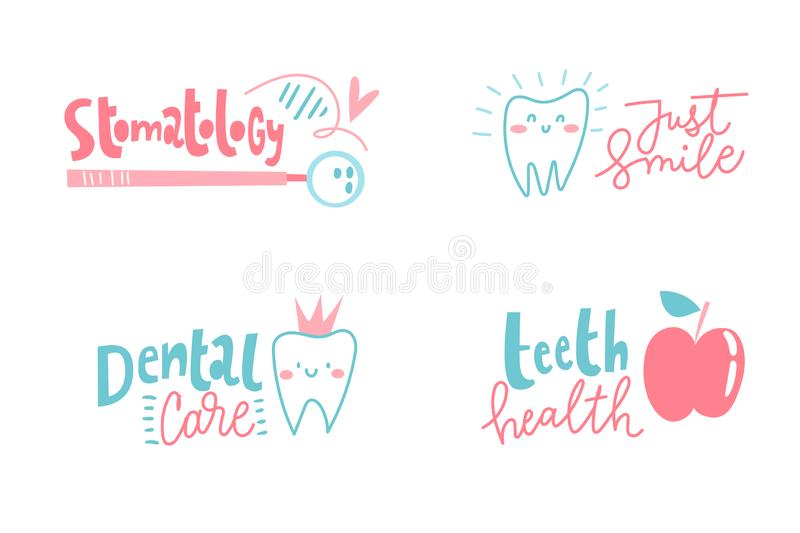 Set of four cartoon stomatology dental logos. vector illustration