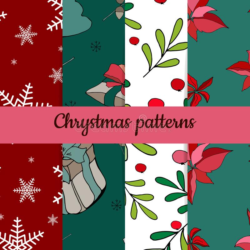 Set of four christmas patterns. Merry christmas seamless pattern.handdraw. vector stock illustration