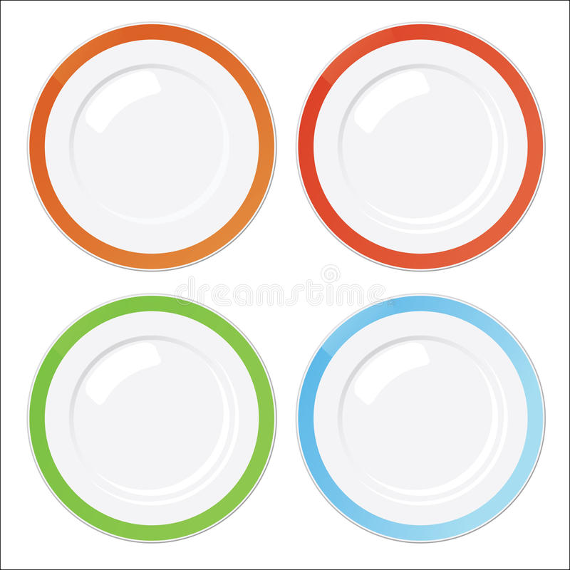 Set of four clean plates with colored borders vector illustration