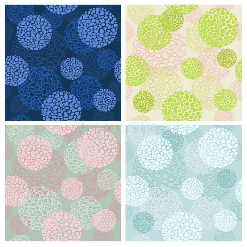 Set four color seamless backgrounds from abstract round forms stock illustration