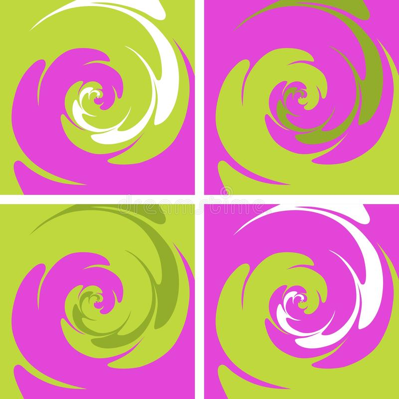 Set of four colored spiral background vector illustration