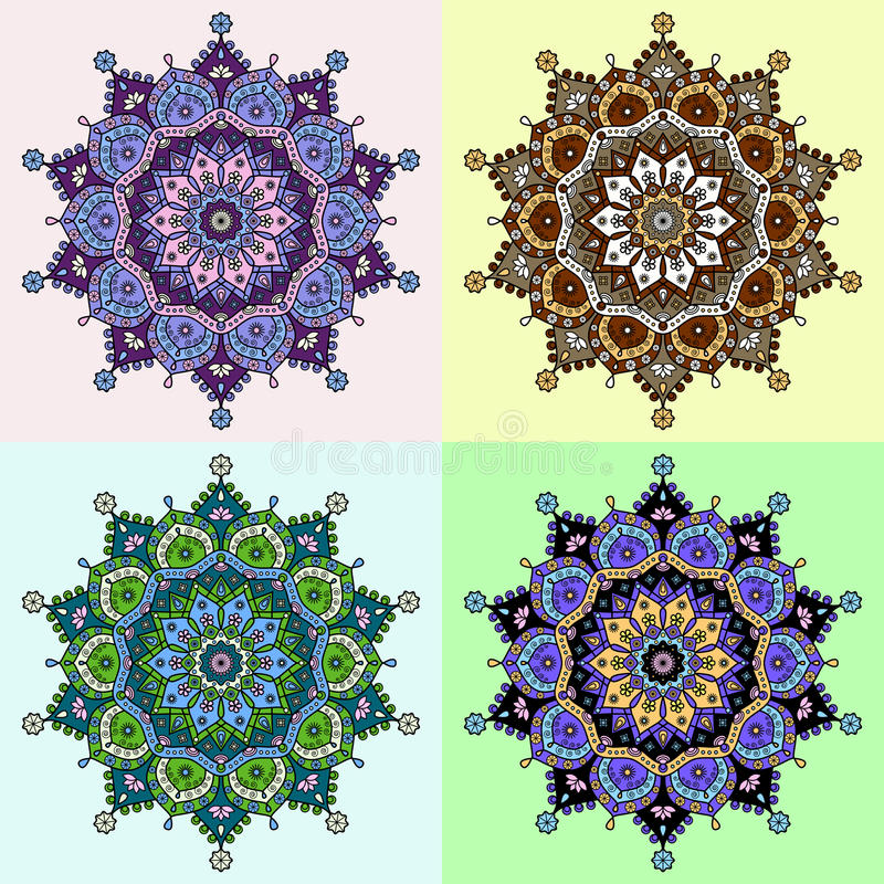 Set of four colored versions of a mandala pattern. stock images
