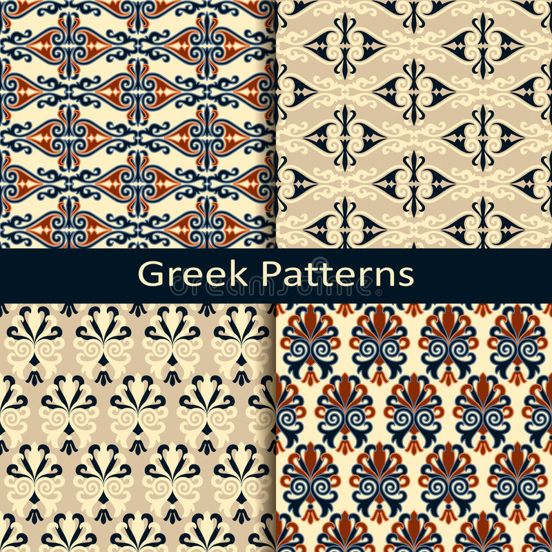 Set of four colorful ancient greek pattern designs stock illustration