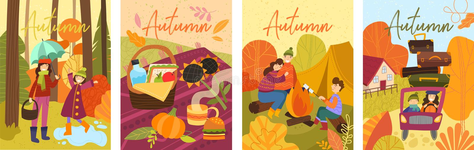 Set of four colorful depictions of autumn life with happy people spending time outdoors. vector illustration