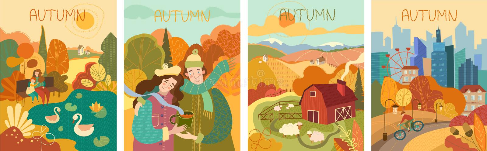 Set of four colorful depictions of autumn life vector illustration