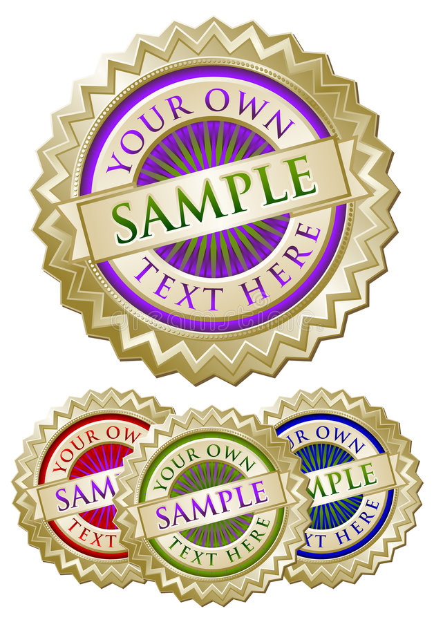 Set of Four Colorful Emblem Seals royalty free stock photography