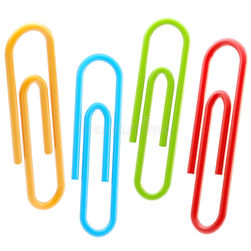 Set of four colorful paper clips isolated stock illustration
