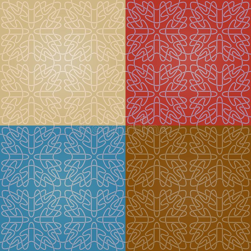 Set of four colorful seamless abstract patterns with gradient royalty free illustration
