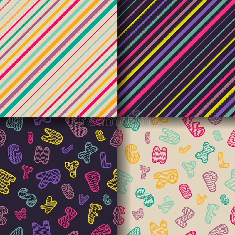 Set of four colorful seamless patterns. stock illustration
